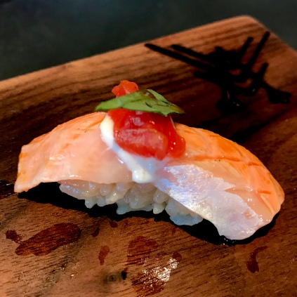 Sake - Ora King Salmon with confit tomato, whipped tofu, and Thai basil