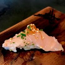 Aka Mutsu - Black Throat Seaperch with cayenne daikon and micro chives