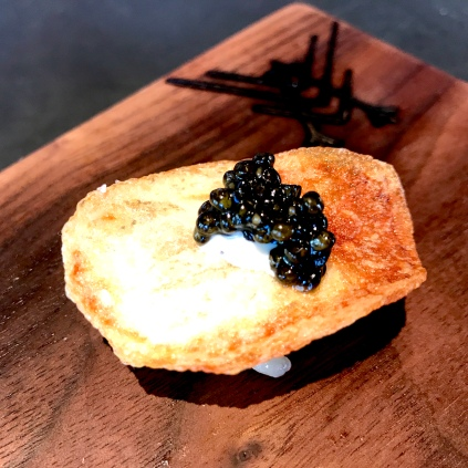 Kyabia - Caviar with potato chip, and grilled ramp aioli