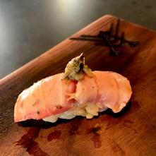Katsuo - Skipjack with ginger ponzu and basil bud
