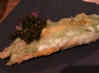Stuffed Squash Blossom with Lazy Bear Reserve Caviar by Tsar Nicoulai