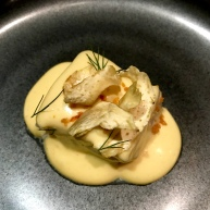 Artichoke with SF Coast Halibut, Blood Orange, Fennel