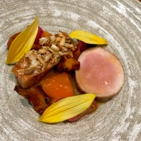 Pork Cheek and Loin with apricot, chanterelle, sunflower