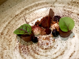 Blueberry with dark chocolate, Sake Kasu, and walnut